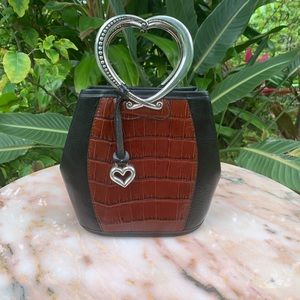 Brighton croc and leather heart shaped handle bag